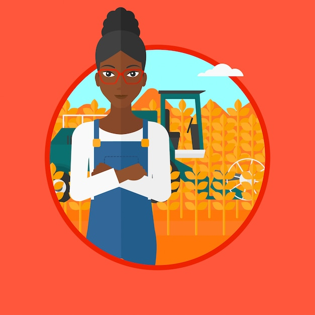 Woman standing with combine Premium Vector
