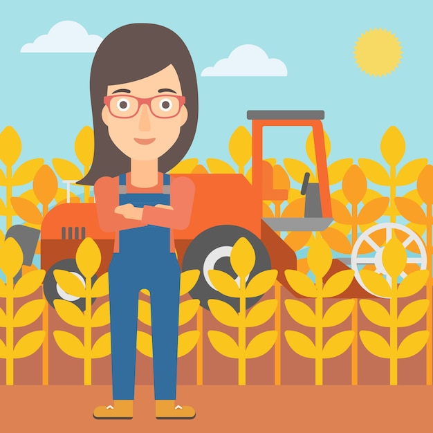 Woman standing with combine Premium Vector