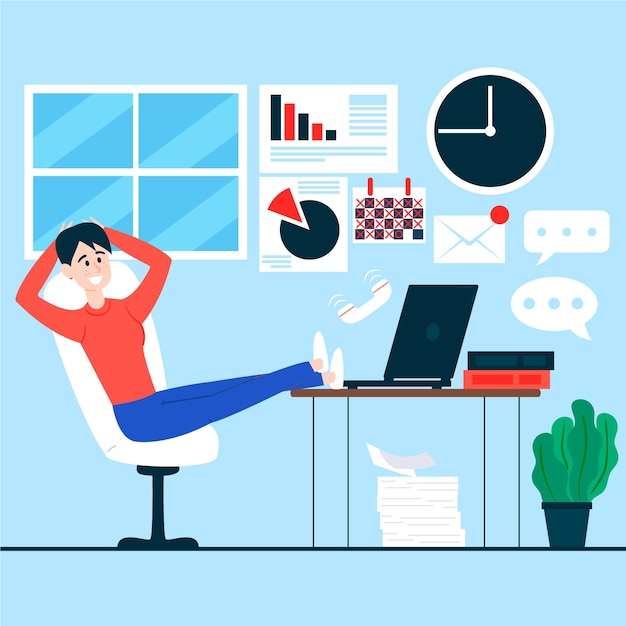 Woman staying with her legs on desk postponed concept Free Vector