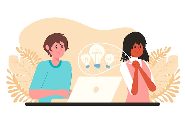 Woman stealing ideas from a man Free Vector