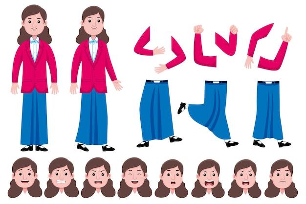 Woman student flat character creation set Premium Vector