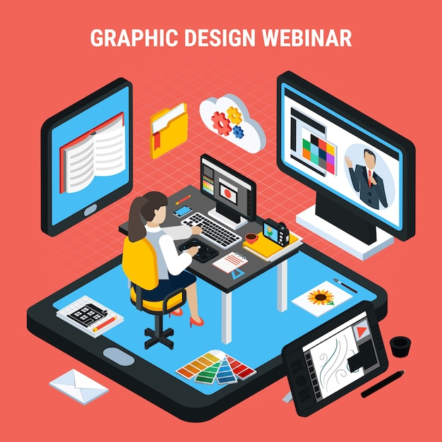 Woman studying at home watching graphic design webinar 3d isometric concept vector illustration Free Vector