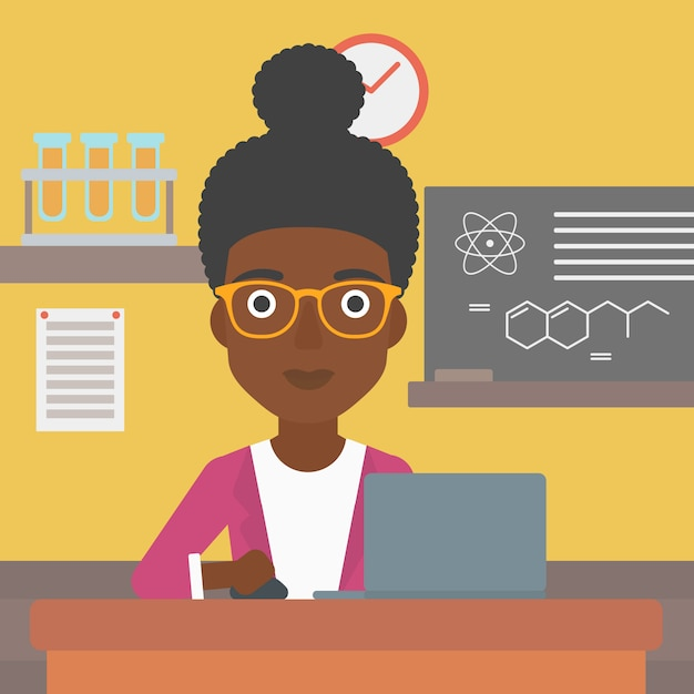 Woman studying with laptop. Premium Vector