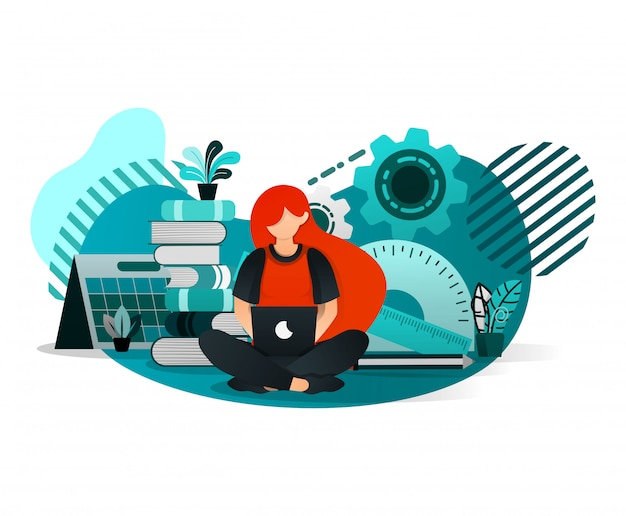Woman studying with a laptop Premium Vector