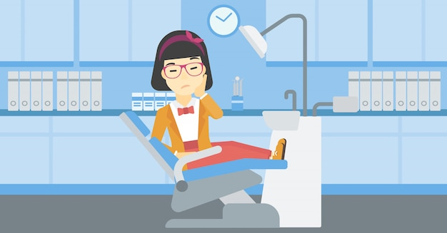 Woman suffering in dental chair. Premium Vector