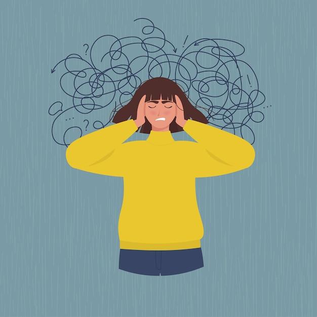 우울증, 스트레스로 고통받는 여성. 플랫 스타일로 프리미엄 벡터