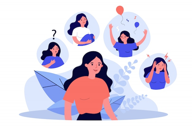 Woman suffering from mood changes Premium Vector