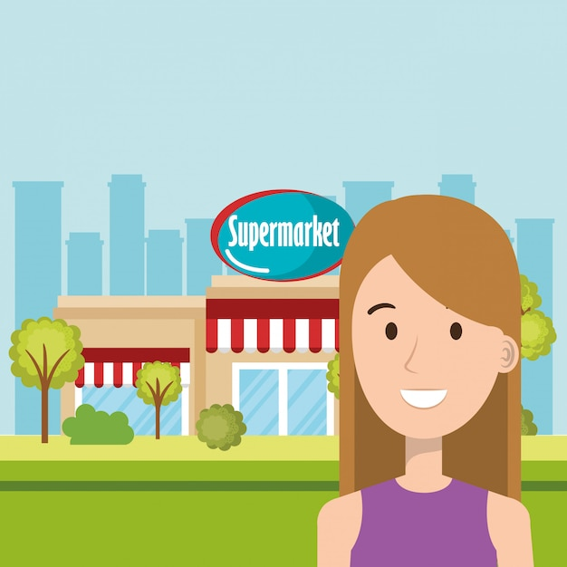 Woman in supermarket building front scene Free Vector