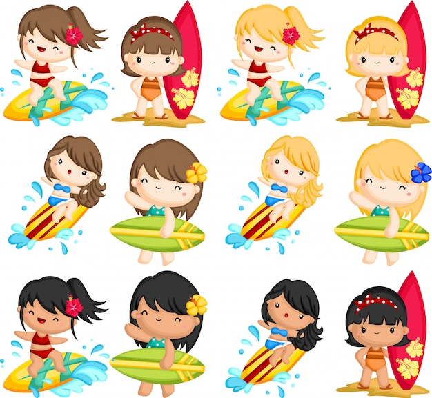 Woman surfing in the sea Premium Vector