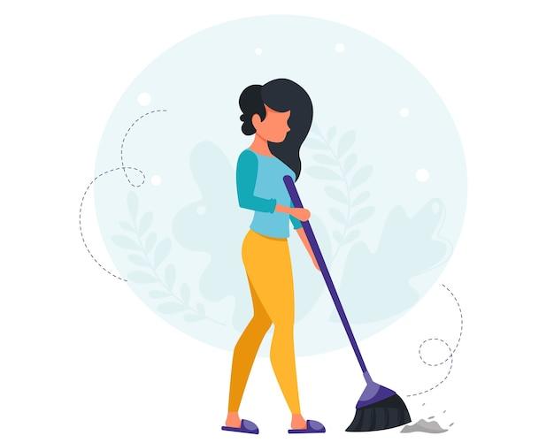 Женщина подметает пол. концепция уборки дома. домохозяйка убирает в доме. в плоском стиле. Premium векторы