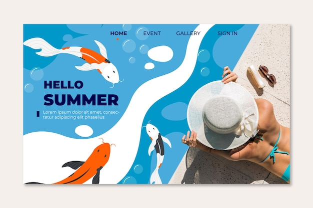Woman at the swimming pool summer landing page Free Vector