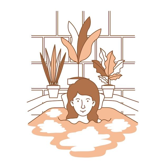 女性、観葉植物、浴槽 Premiumベクター