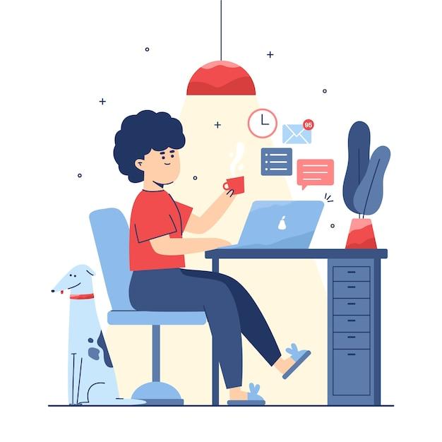 Женщина отдыхает от работы Бесплатные векторы