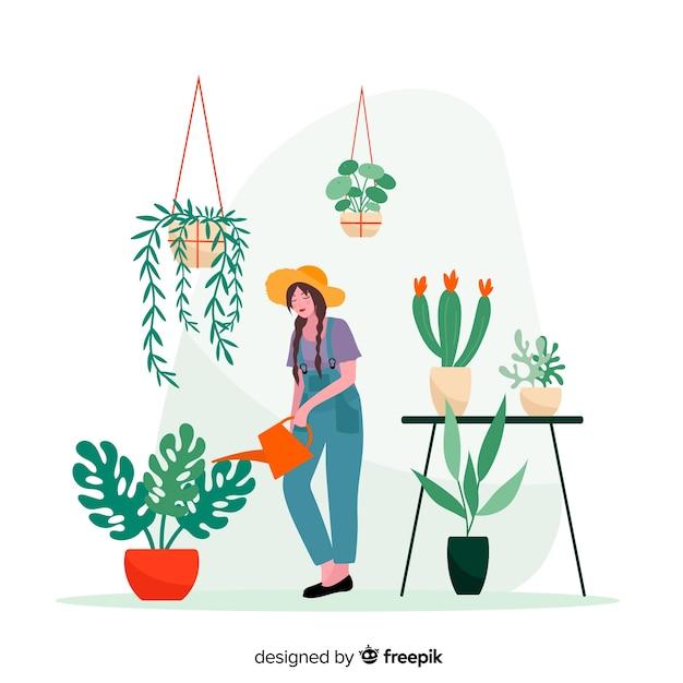 植物、働く庭師の車eを取っている女性 Premiumベクター