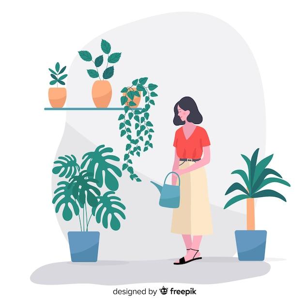 植物の世話をする女性 無料ベクター