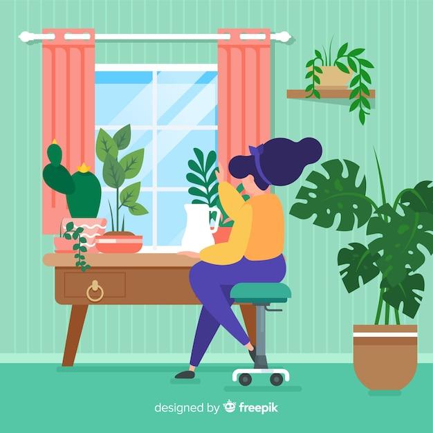 Donna che si prende cura delle piante Vettore gratuito