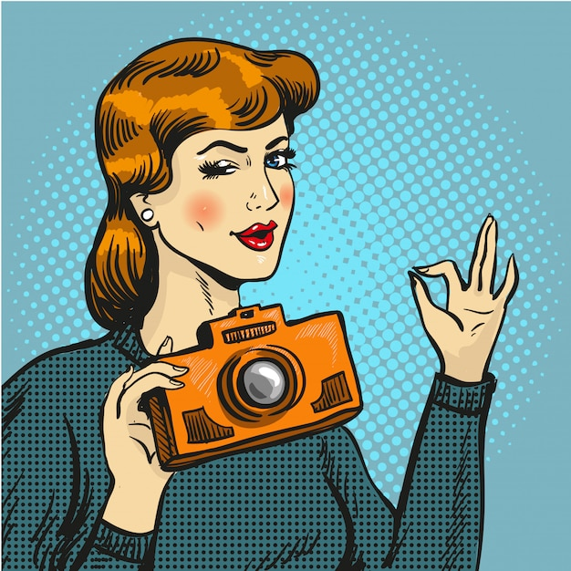 Woman taking photo in pop art style Premium Vector