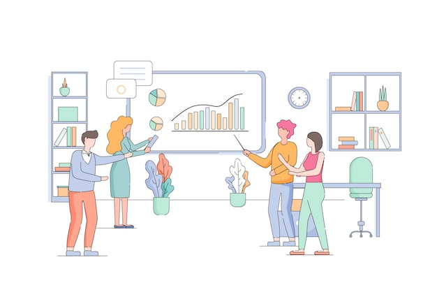 Woman teach employees at board with growing graph. Premium Vector