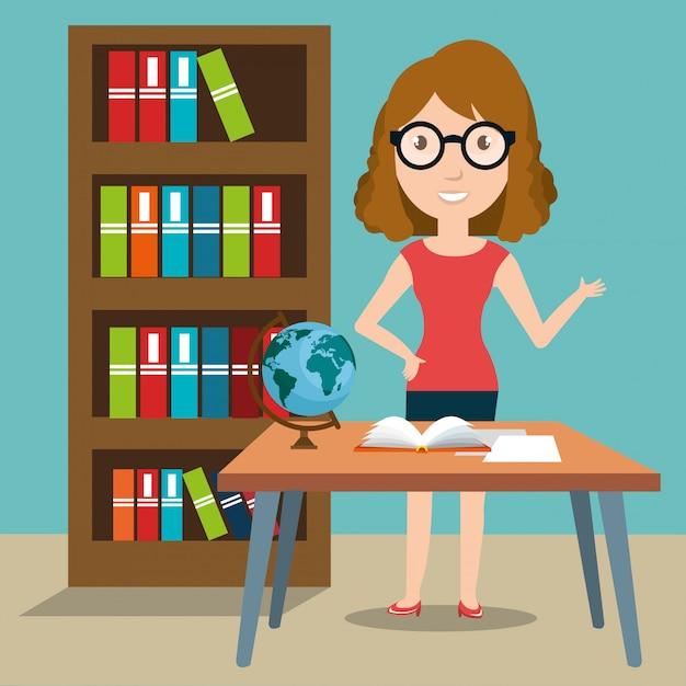 Woman teacher in the classroom Free Vector
