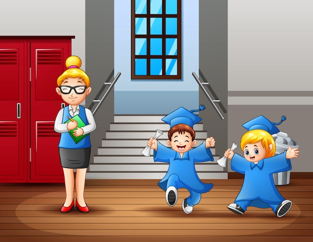 A woman teacher and cute graduation students at the hallway Premium Vector