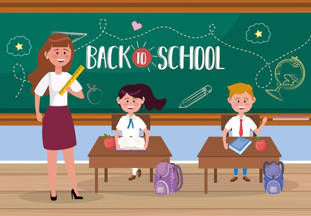 Woman teacher with girl and boy students in the classroom Free Vector