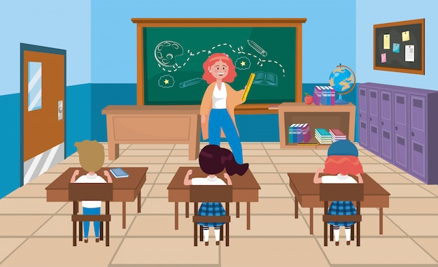 Woman teacher with girls and boy students with books Free Vector