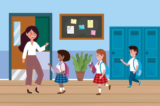 Woman teacher with girls and boy students Free Vector