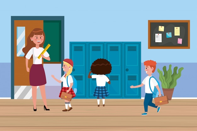 Woman teacher with girls and boys students with lockers Free Vector