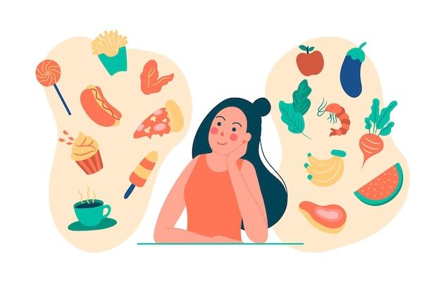 健康で不健康な食べ物について考える女性 Premiumベクター