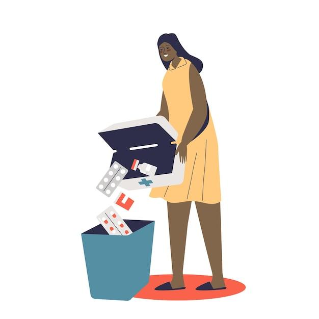 Женщина выбрасывает просроченные лекарства, таблетки, наркотики и обезболивающие в мусорное ведро. концепция здравоохранения, безопасной аптеки и лечения Premium векторы