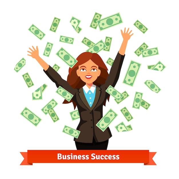 Woman throwing green dollar cash money in the air Free Vector