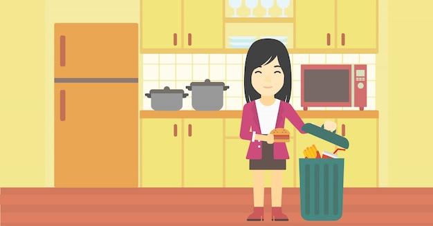 Woman throwing junk food vector illustration. Premium Vector