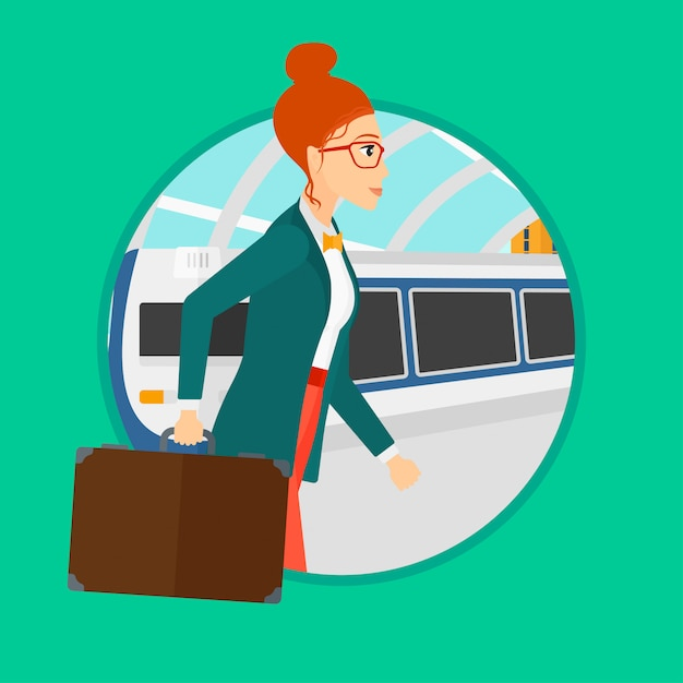 Woman at the train station. Premium Vector