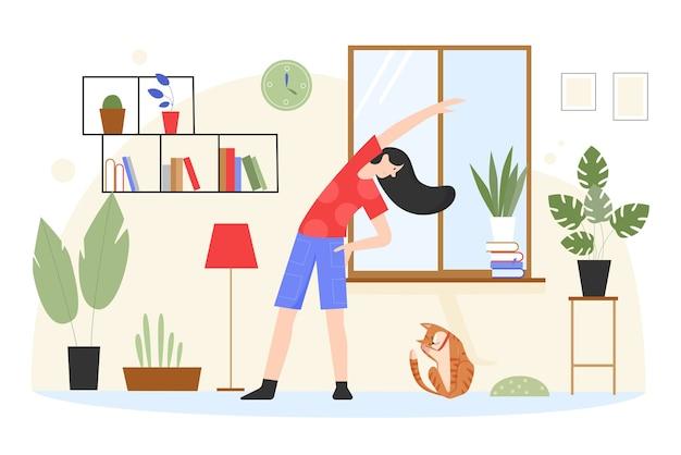 여자 훈련, 집에서 요가 운동을 하 고 그림. 프리미엄 벡터