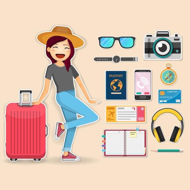女性旅行者およびアクセサリー旅行 Premiumベクター