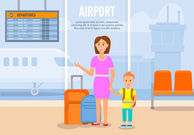 Woman traveling together with little son. Premium Vector