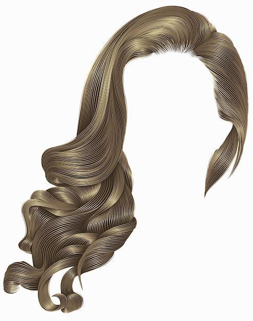 Женщина модный длинный вьющийся светлый парик коричневых волос. ретро стиль. Premium векторы