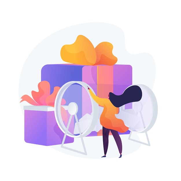 Woman turning raffle drum with tickets. prize draw, random choice, surprise reward. gambling entertainment show., jackpot winner selection. Free Vector