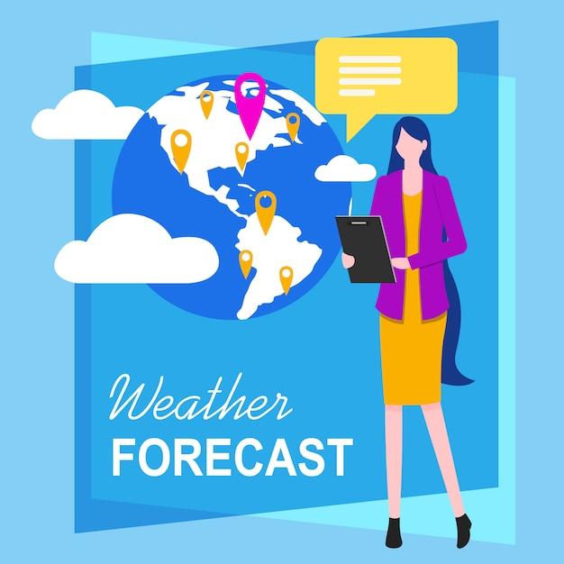女性テレビレポーター天気予報ベクトル図。 Premiumベクター