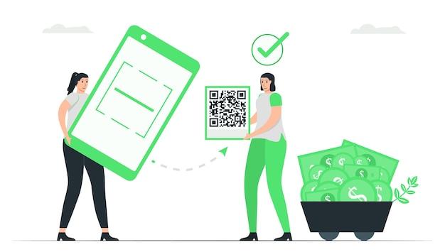 Женщина использует приложение для сканирования qr-кода для выплаты денег. минималистичный зеленый однотонный дизайн в концепции электронных платежей. Premium векторы