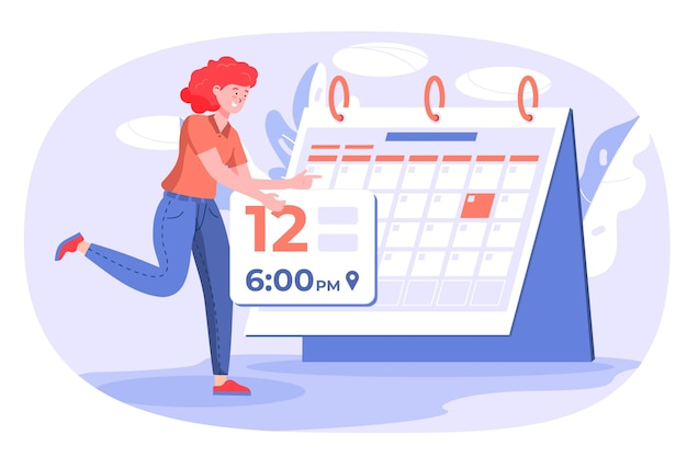 Woman using a calendar for remembering an appointment Free Vector