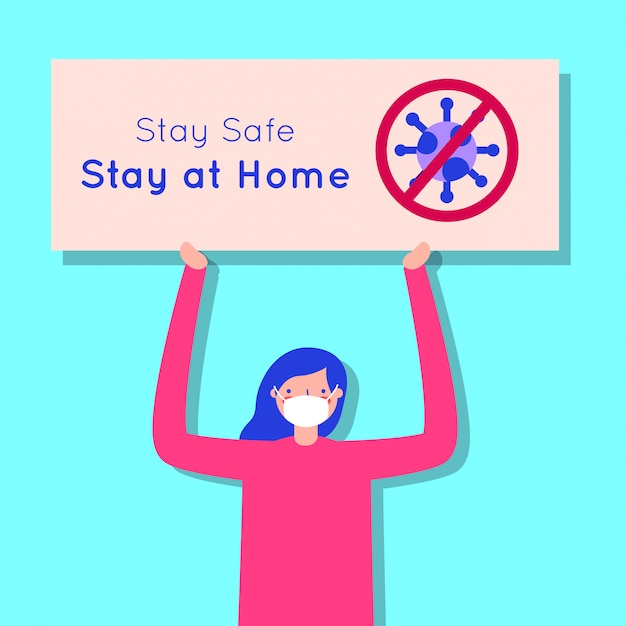 Woman using face mask for covid19 with stay at home banner Premium Vector
