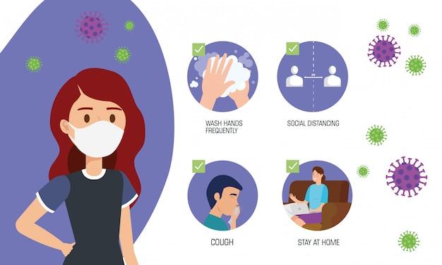 Женщина использует маску для пандемии covid19 Бесплатные векторы
