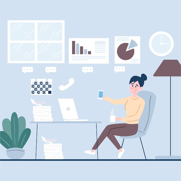 Woman using her phone instead of working Free Vector