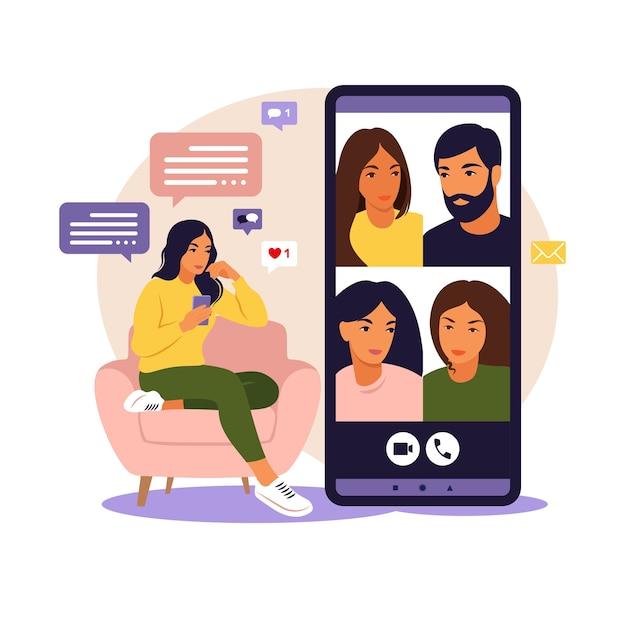 집단 가상 회의 및 그룹 화상 회의에 전화를 사용하는 여자 친구 온라인 화상 회의 원격 작업 기술 개념과 채팅 여자 프리미엄 벡터