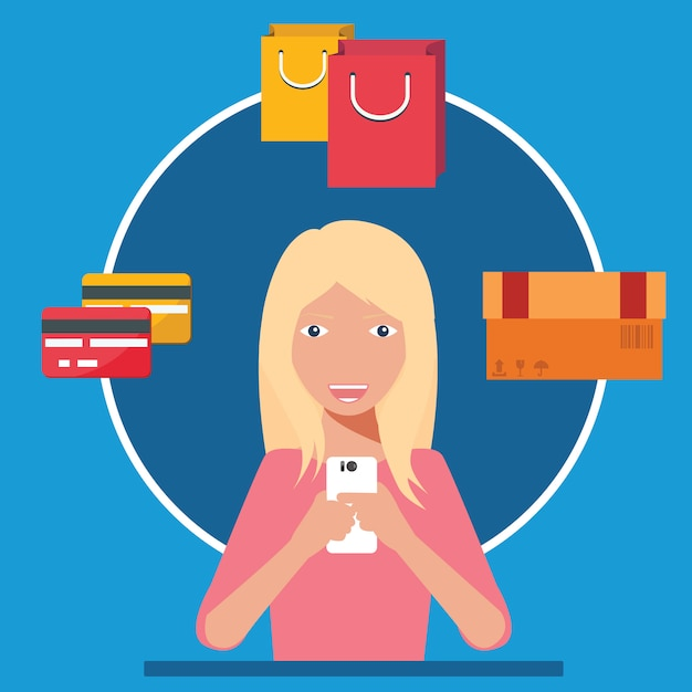 Woman using smartphone for shopping. mobile commerce concept. Premium Vector