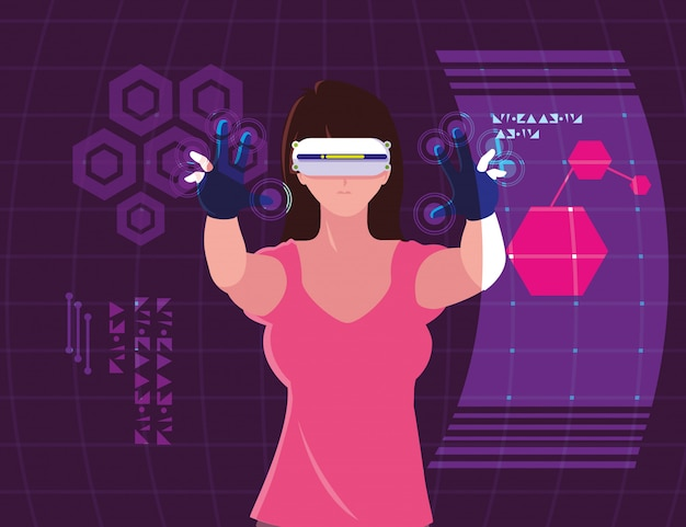 Woman using technology of augmented reality Premium Vector