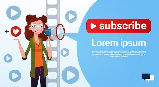 Woman video blogger online stream blogging subscribe concept Premium Vector