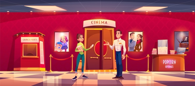 Woman visit cinema give ticket to man controller Free Vector