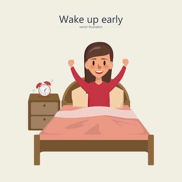 Woman wake up in the morning in the bedroom Premium Vector